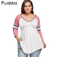 PlusMiss Plus Size 5XL Cintura Império Manga Raglan Listrado T-shirt Túnica Top Tee Mulheres Roupas Casuais Solta V Camisa Do Pescoço T 2018