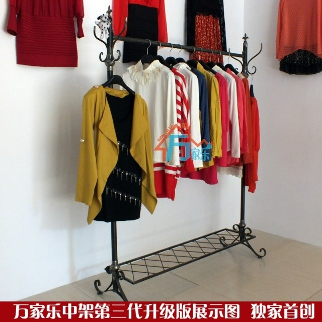 High-grade clothing display clothing store clothing racks island shelf rack clothes rack Iron Floor bags