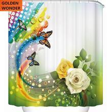 цена на New Design Flower Shower Curtain Bathroom Curtain Data Printing Cortina Blind Polyester Water-proof Simple Style Home Garden