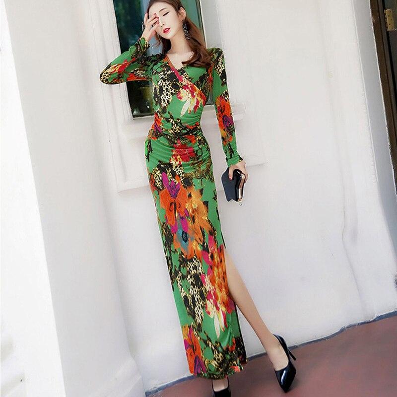 Mince Haute Manches Hanche 2018 Hiver Fendu Robe Et Paquet Sexy Automne À Longues Floral Taille Imprimé Grande Longue Mode UMSzVp