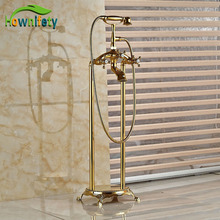 Modern Floor Mount Bathroom Claw-foot Bath Tub Faucet Free Standing Brass Golden Polish  Bathtub Mixer Taps