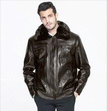 2017 зимние мужчин среднего возраста меховой воротник кожаной куртки плюс толстый бархат досуг большой ярдов 4XL естественный цвет свободно версия пальто
