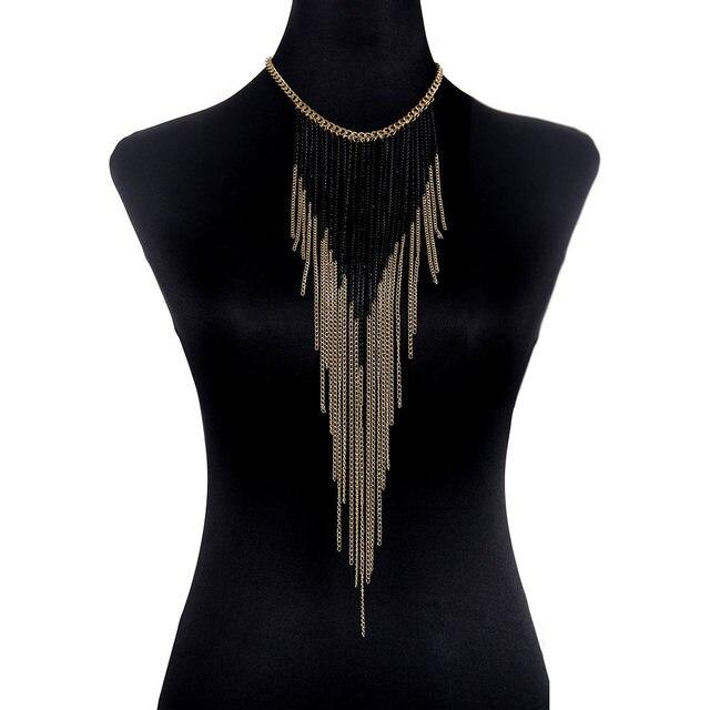 Luxury Fashion Sexy Body Belly Black Gold Color Tone Body Chain Bra Slave Harness Necklace Tassel Waist Jewelry M994