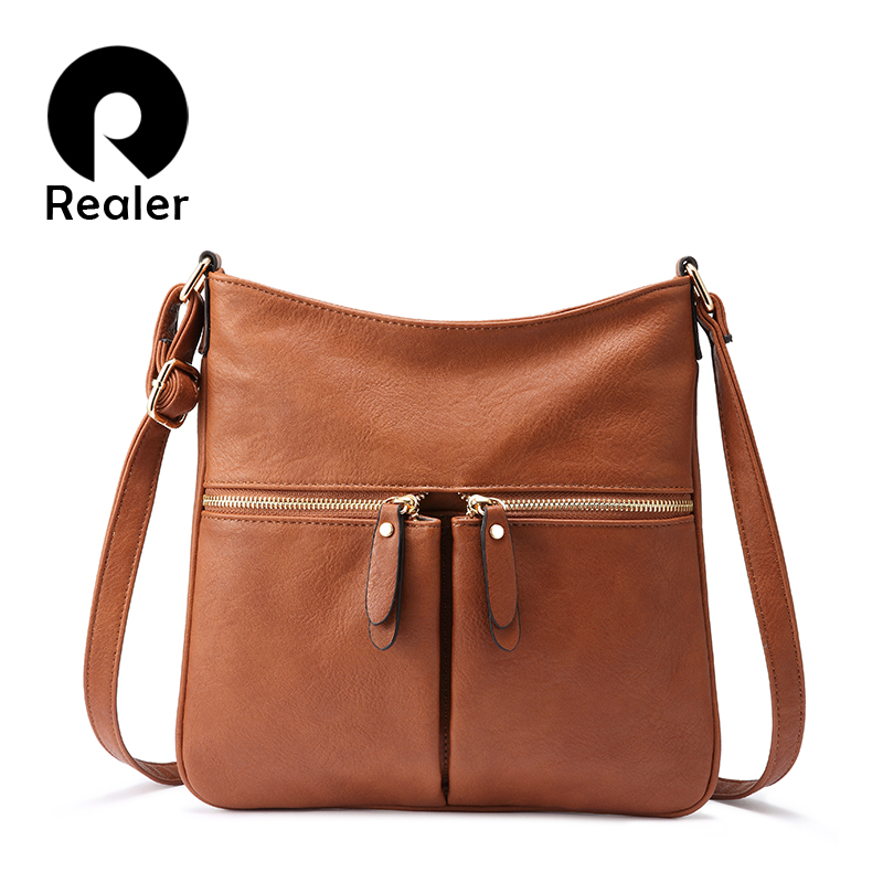 REALER Women Shoulder Bag Strap Luxury Crossbody Messenger Bags Female PU Leather Fashion Small Flap Bag Ladies High Quality
