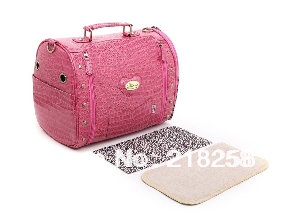 Free Shipping Red Fashion Petcare Fabric Crocodile Pattern Pet Dogs Carrier Bag