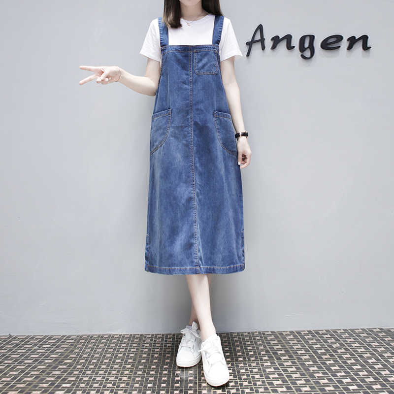 Summer Women Cotton Denim Maxi Dress Plus Size Long Casual Sleeveles Strap  Jeans Ladies Dresses Large Size Sundress Frocks