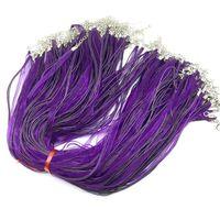 Wholesale 100pcs Lot Colorful Silk Ribbon Cord Necklace Wax Cotton Wire Cord Jewelry 45cm Chain Silver