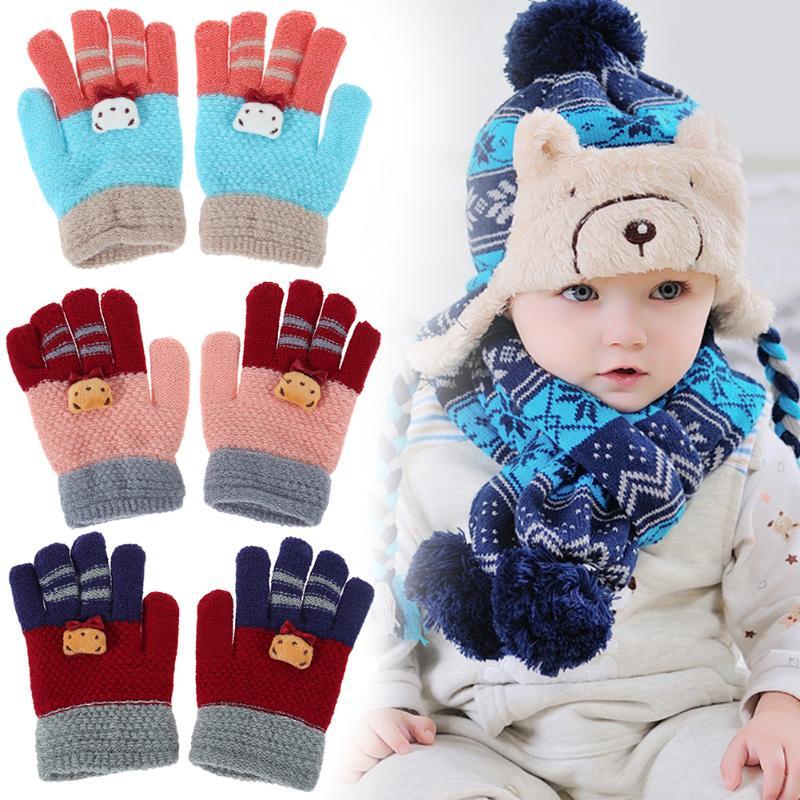 Autumn Winter Kids Gloves Fashion Elastic Warm Girls Full Finger Gloves Cute Cartoon Children Knitted Stretch Mittens Ski Gloves все цены