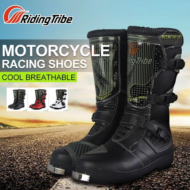 Reiten Tribe Motorrad Reiten Stiefel Tribe Motocross Off-road Racing Lange Schuhe Outdoor Sport Reiten Stiefel Männer Rot Schwarz weiß