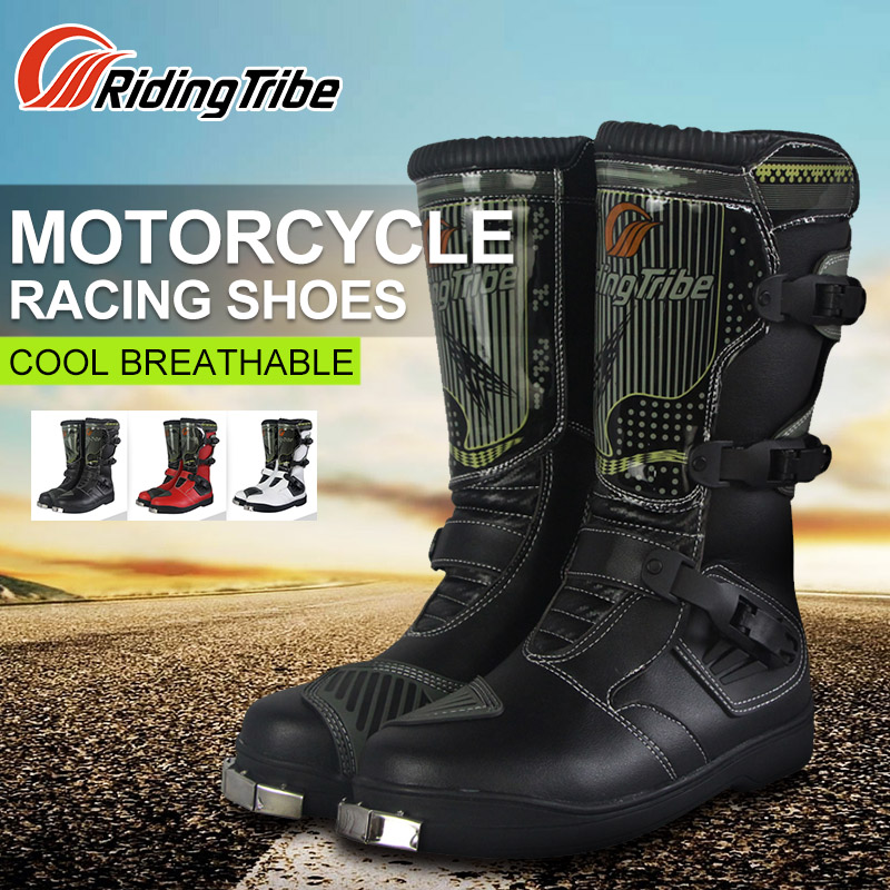 Riding Tribe Motorcycle Riding Boots Tribe Motocross Off-road Racing Long Shoes Outdoor Sports Riding Boots Men Red Black White motorcycle riding shoes men s waterproof spring anti falling knights boots cross country racing shoes road locomotive boots