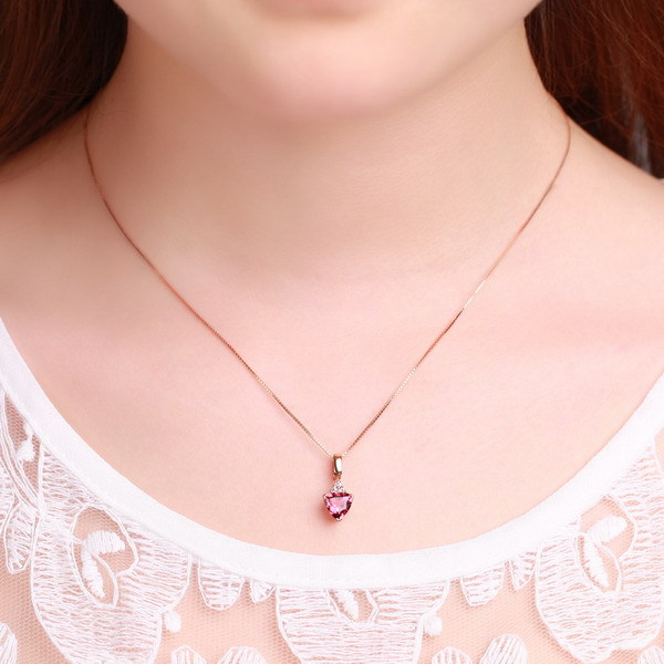 US $749 99 |ZOCAI BRAND NATURAL 0 7 CT RED TOURMALINE PENDANT OF 18K ROSE  GOLD WITH 0 06 CT NATURAL REAL DIAMOND 925 SILVER STERLING CHAIN-in  Pendants