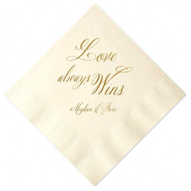 set of 100 personalized napkins custom napkins wedding favor napkins wedding shower napkins bar napkins foil