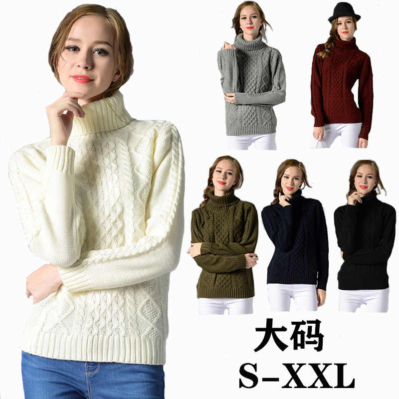WinterTurtleneck Sweater Ladies Women White Knitted Pullovers Long Sleeve Sping Basic Casual Black Autumn Tops Sweater Warm Tops