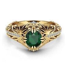 Ladies Luxury Green AAA Zircon Ring Wedding Gold color Rings for Women Jewelry sz 6 7 8 9 10 Y-45 luxury fashion aaa zircon ms men s ring valentine s day gift wedding ring for men s jewelry sz 6 7 8 9 10 11 12 13 y 40