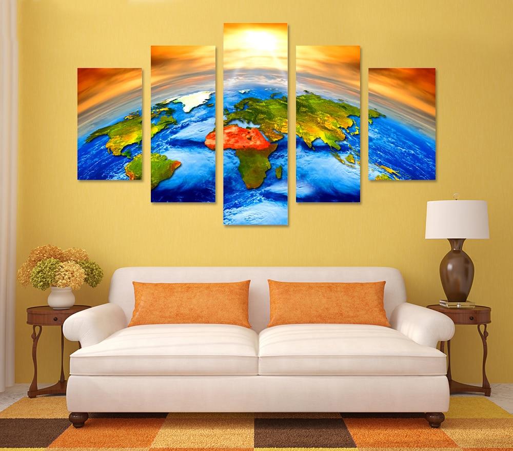 Online Shop HD print 5pcs Sunrise Colorful Earth World Map painting ...