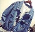 Moda Outono 2016 das Mulheres Do Vintage Calça Jeans Denim Solto Jaqueta Curta Mulheres Jaqueta Jeans jaquetas para as mulheres Outwear
