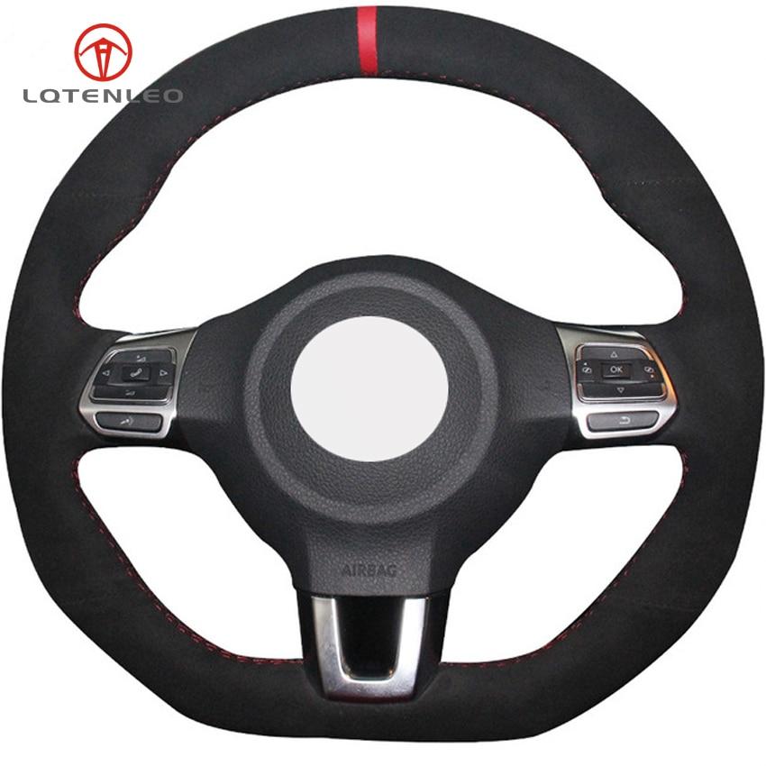 LQTENLEO Black Suede Hand stitched Car Steering Wheel Cover for Volkswagen Golf 6 GTI MK6 VW