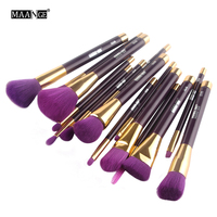 MAANGE Professional 15Pcs Wooden Makeup Brushes Set Powder Foundation Eyeshadow Eyeliner Lip Contour Concealer Smudge Brush