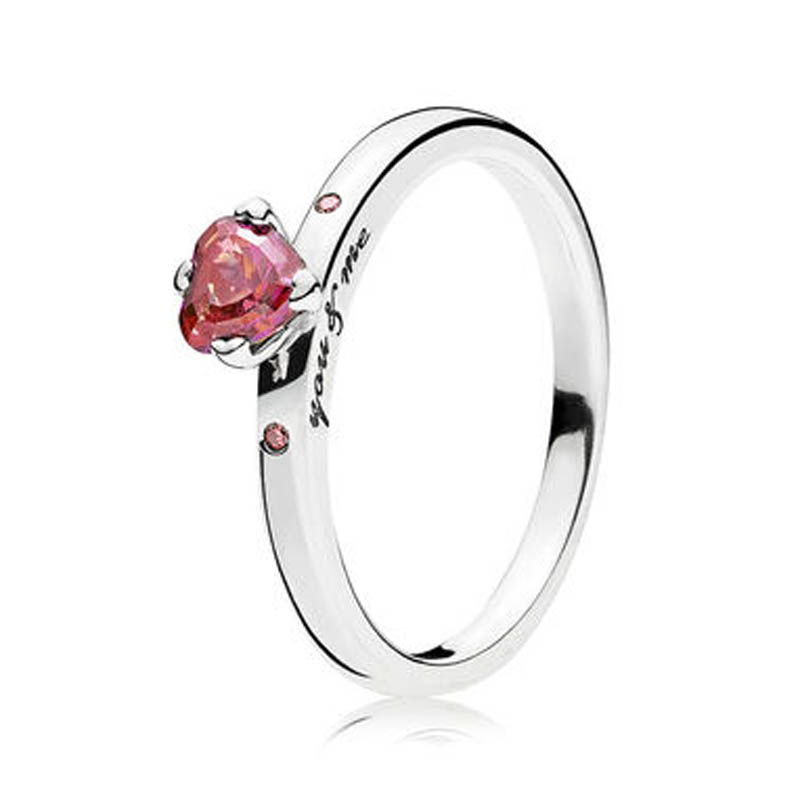 30% Silver Ring for Women You & Me Ring for Lovers Girl Finger Ring Red CZ Birthday Gift Wedding Party fit Lady Jewelry