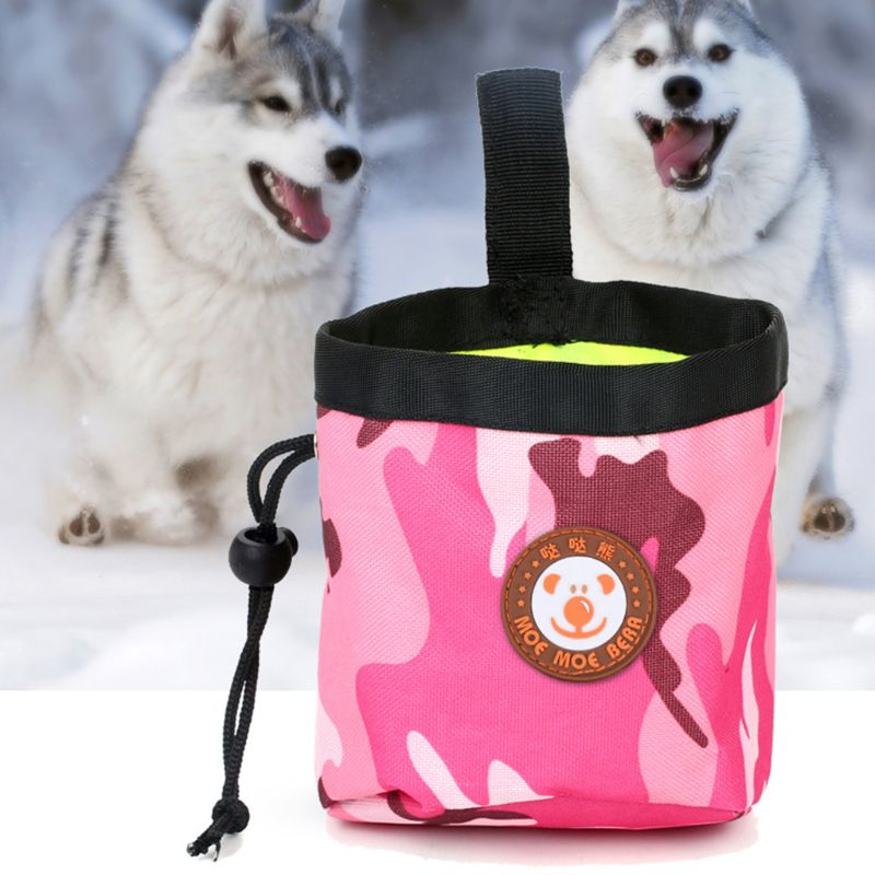 Dog Treat Training Pocket Pouch Nylon Lining Poop Bag With Waist Clip And Drawstring