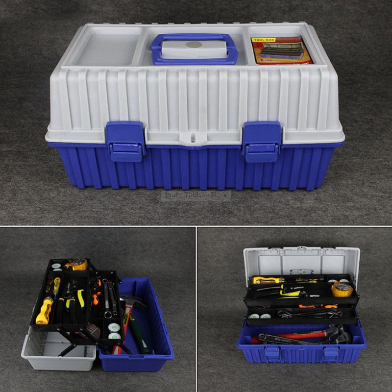 Multi-function Three-layer Plastic Toolbox Folding Hardware Accessories Tool Box Organizer Storage Parts Plastic Tool Case