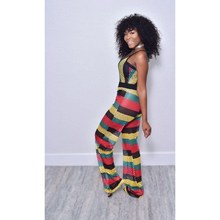 2019 Sexy Sleeveless Patchwork Striped Flare Jumpsuit Women Spaghetti Strap Hollow Out Loose Rompers Overalls