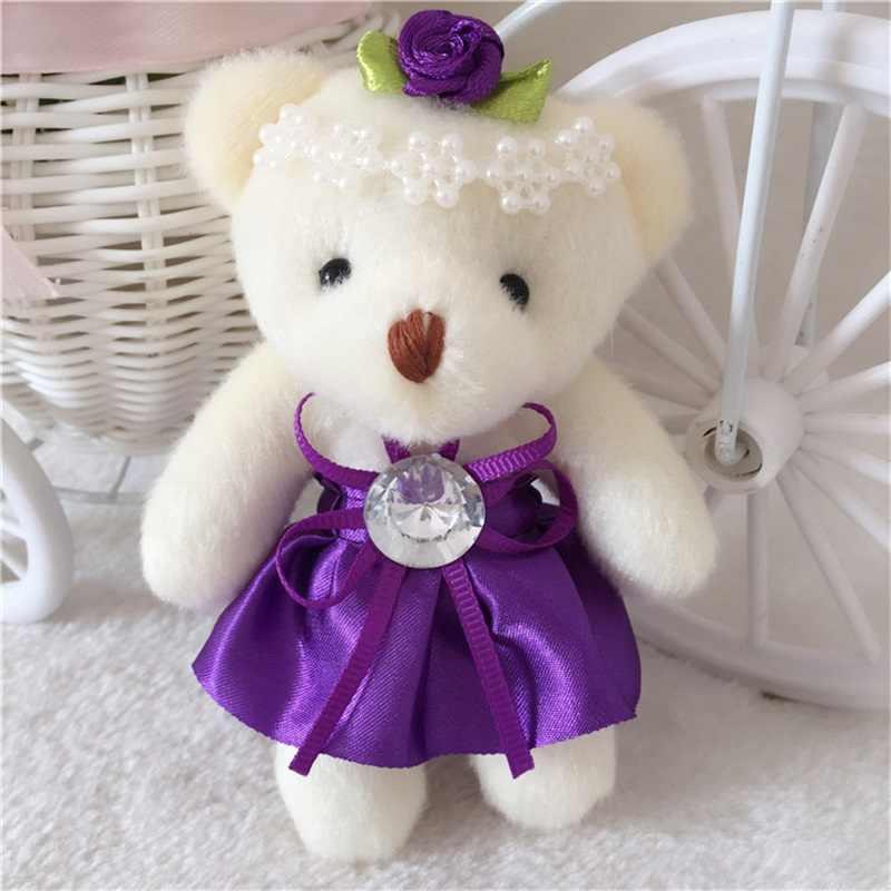 Kawaii 1 шт. 12 см плюшевый мишка игрушки Мини Цветочные букеты плюшевый мишка мягкие игрушки с бриллиантом День рождения Свадьба Подарок