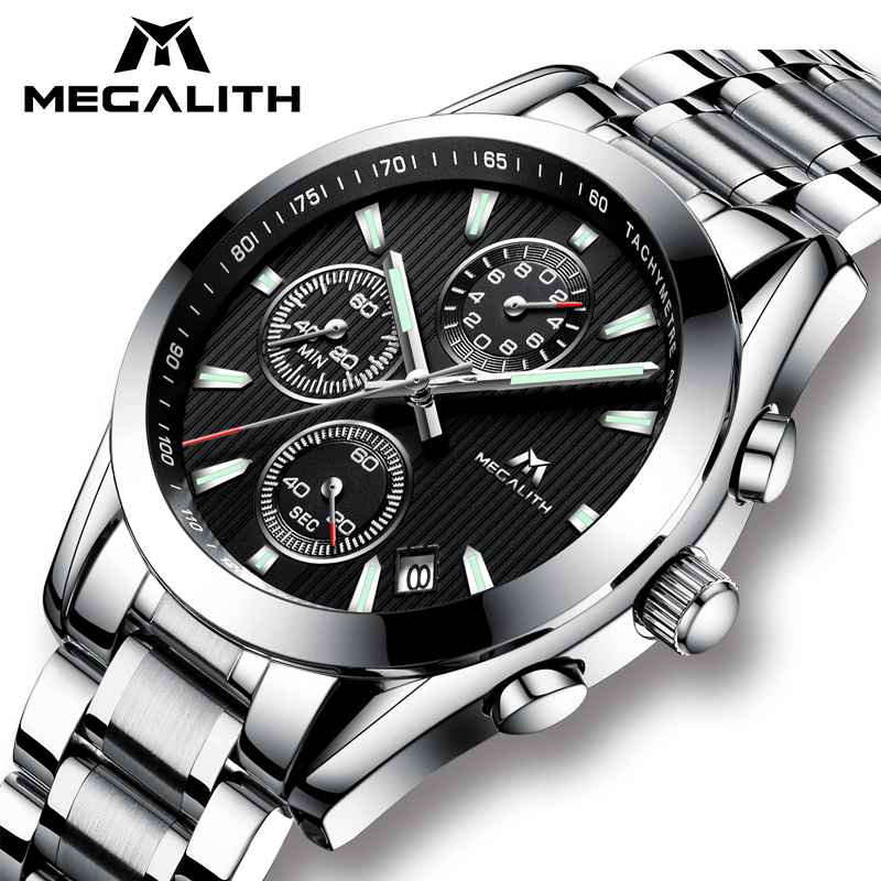 MEGALITH Watch Men Clock Sport Military Quartz Watch Waterproof Luxury Chronograph Stainless Steel Wrist Watch Relogio Masculino megalith quartz watches mens waterproof chronograph calendar silver stainless steel wrist watch gents sport business men s watch