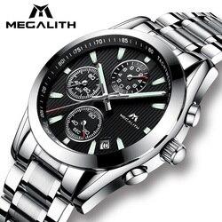 MEGALITH Watch Men Clock Sport Military Quartz Watch Waterproof Luxury Chronograph Stainless Steel Wrist Watch Relogio Masculino