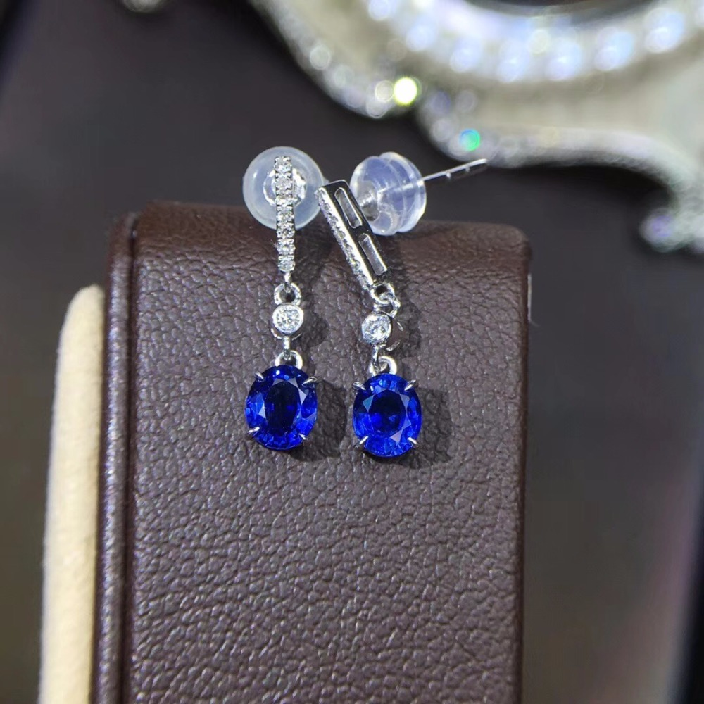 Fine Jewelry Collection Real 18K White Gold AU750 100% Natural Blue Sapphire Gemstone Myanmer Origin Drop Earrings for Women цена