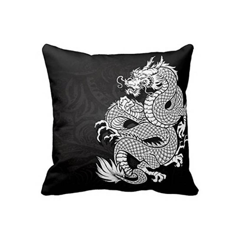 chinese dragon white and black decorative pillows for sofa luxury twin sides printing hidden zipper closure - Black And White Decorative Pillows