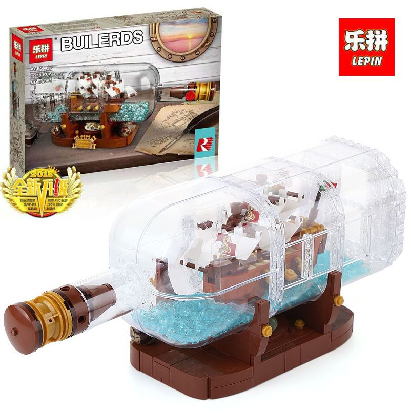 Lepin 16051 New Toys 1078Pcs Movie Series The 21313 Ship in a Bottle Set Building Blocks Bricks LegoINGlys Kid Birthday Gifts 8 in 1 military ship building blocks toys for boys