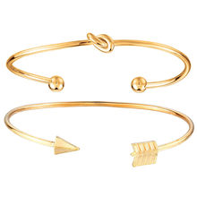 Vintage Gold Cuff Bracelet Bangles for Women Color Open Twisted Knotted Charms Bangle Jewelry Bijoux New Fashion