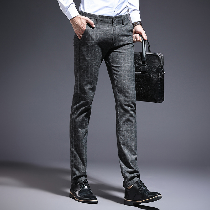 Suit pants spring and summer models mens plaid stretch Slim feet British style casual cotton suit