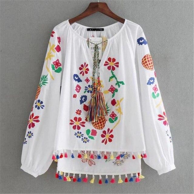 Bohemian pineapple flowers embroidery white blouse women tops with bohemian pineapple flowers embroidery white blouse women tops with colorful tassels boho shirt women blouses women mightylinksfo
