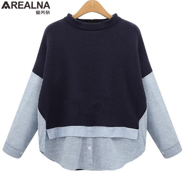 70059b4cd6883 AREALNA Autumn sweatshirt women Style Striped Patchwork Navy Pullover Loose  Casual hoodies for women Plus Size