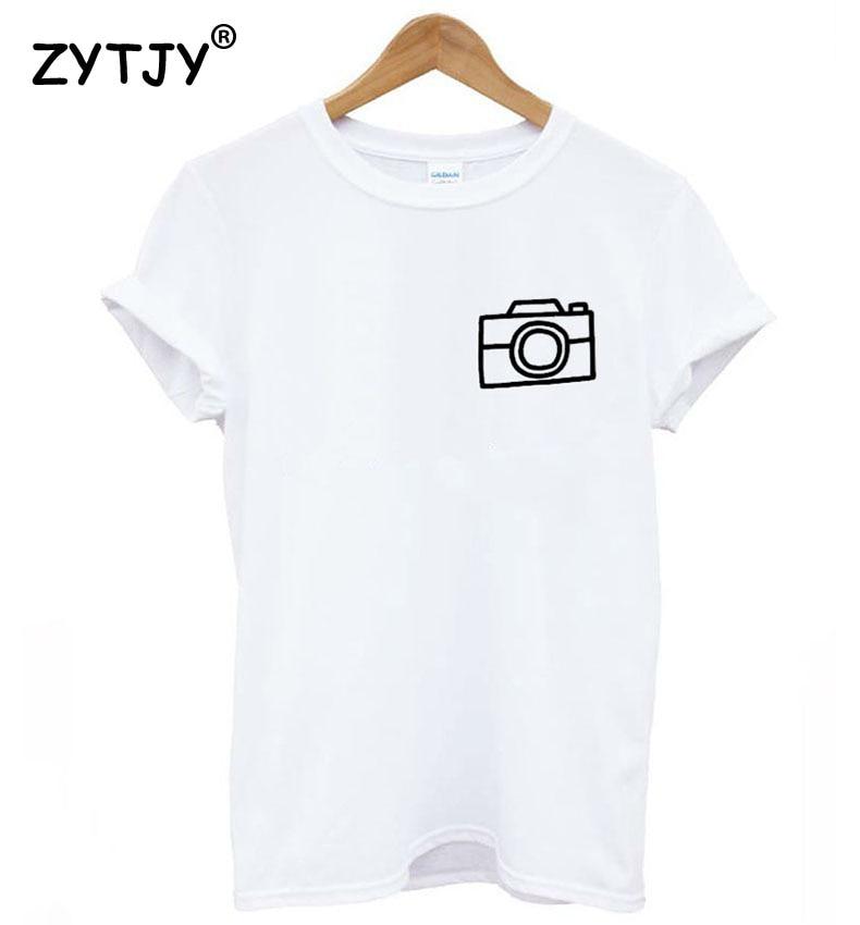 Camera pocket Print Women tshirt Cotton Casual Funny   t     shirt   For Lady Girl Top Tee Hipster Tumblr Drop Ship Z-1078