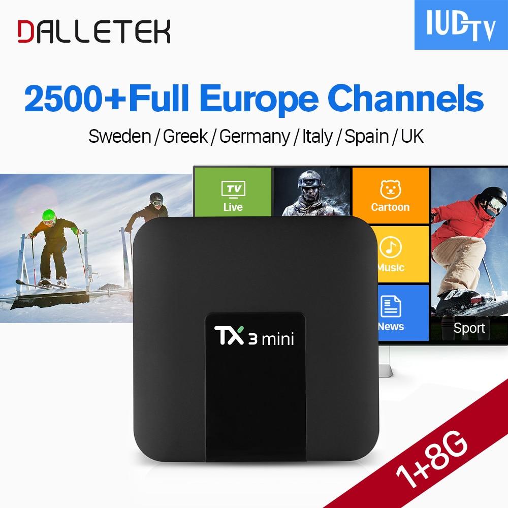 цена на TX3 Mini IPTV 1 Year Android 7.1 TV Receiver S905W Quad Core With IUDTV Subscription Turkey Portugal Sweden UK Italy Spain IPTV