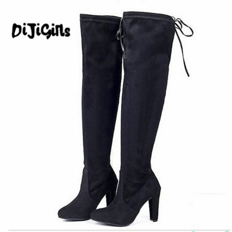 Lady Women Winter High Heels Boots Slim Thigh High Boots Sexy Fashion Over Knee Boots Girls Botas Shoes 3 Colors women boots winter autumn cow suede thigh high boots sexy over the knee high heels shoes fshion botas senhora bottes d hiver