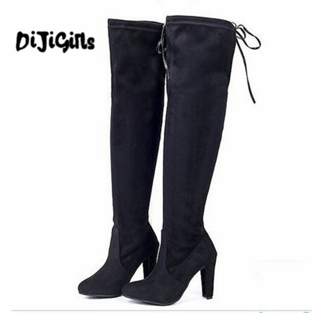 76b8253d575 Lady Women Winter High Heels Boots Slim Thigh High Boots Sexy Fashion Over Knee  Boots Girls Botas Shoes 3 Colors