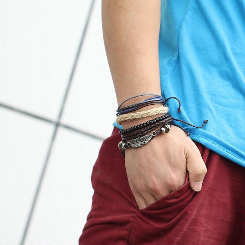 SOXY Angel Wings Feather Alloy Multi-Layer Wooden Beads Braided Bracelet For Men Vintagr Male Bangles Bracelets