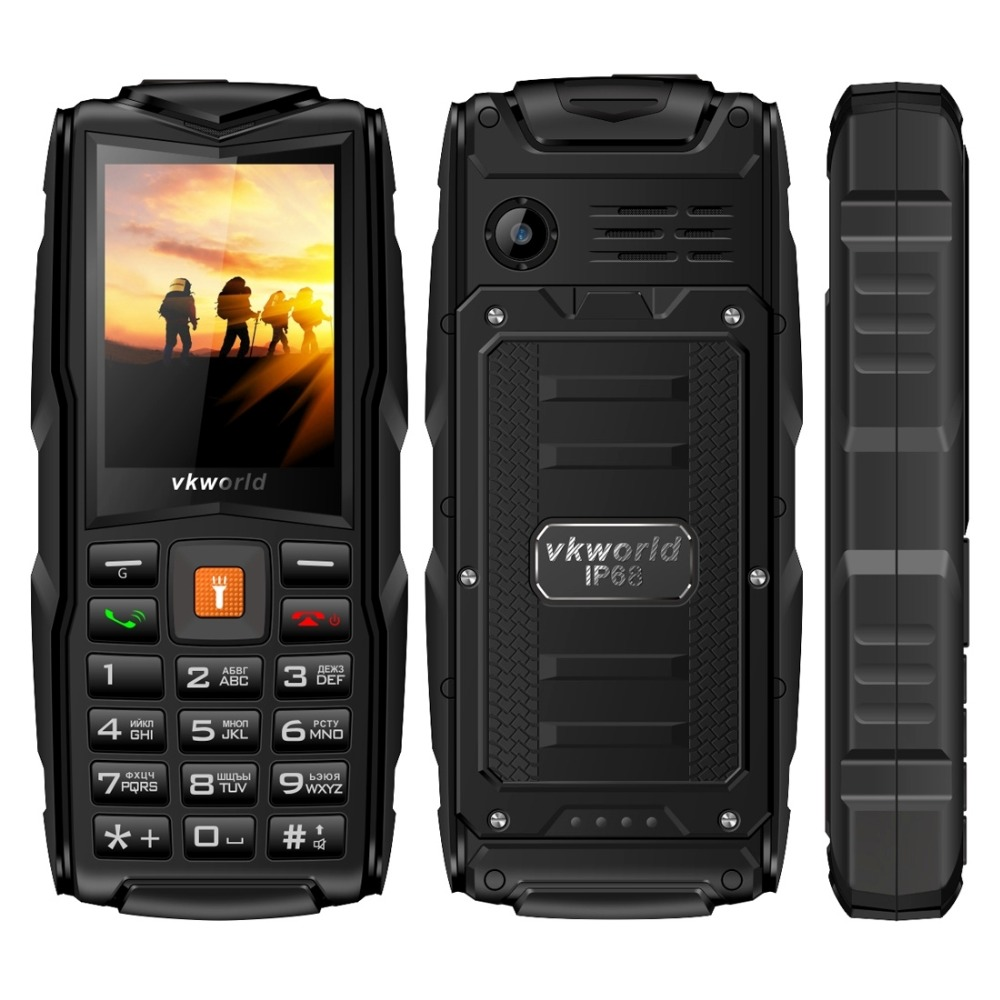 VKWorld New Stone V3 Rugged Phone Waterproof Mobile SC6531CA RAM 64MB 2.4 inch Triple SIM Bluetooth LED light Russian Keyboard