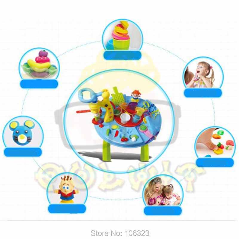 Creartive Play Dough Table with Tools Mold,Plasticine Colorful Activity World:Figure Food Animal Vegetable Noodle Hair Ice Crean blue like play dough