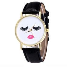 Fashion Long eyelashes Ladies Watch Male And Female Clock PU Leather Strap Analog Quartz Wrist Women Watches Relogio Feminino