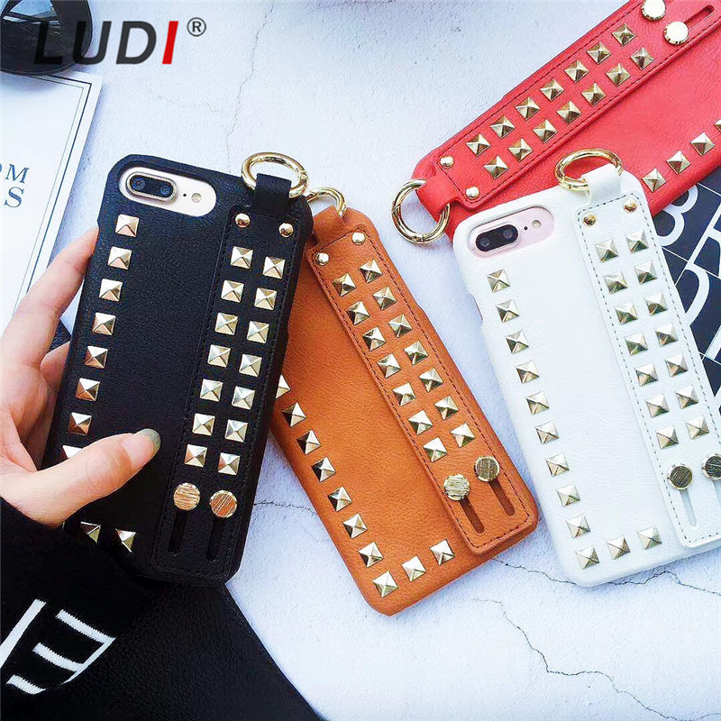 LUDI 3D Cool Rock Punk Spikes Stud Rivet Wrist Strap Case for iPhone X 8 7 7plus Hard PU Back Cover for iPhone 6 6s Plus