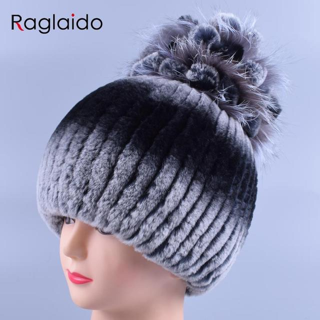 Raglaido Knit Beanie Hat Lady Winter Cap with Fox Fur Top Flower shellac Pompom Rex Rabbit Fur Hats Elegant Skully Hat LQ11175