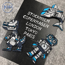 JOD Boy DIY Decorative Children Robot Iron on Patches for Clothes Patch Embroidery Cartoon Applique Stickers Clothing Badges @