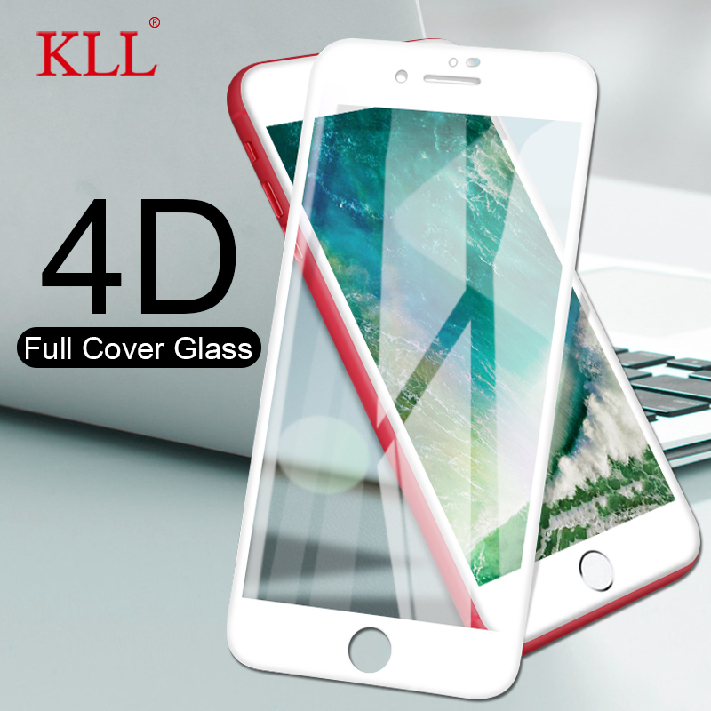 4D For IPhone 7 Plus Protective Glass Full Cover (3D Updated ) Tempered Glass Film For IPhone 6 6S 6 Plus Edge Full Screen Cover