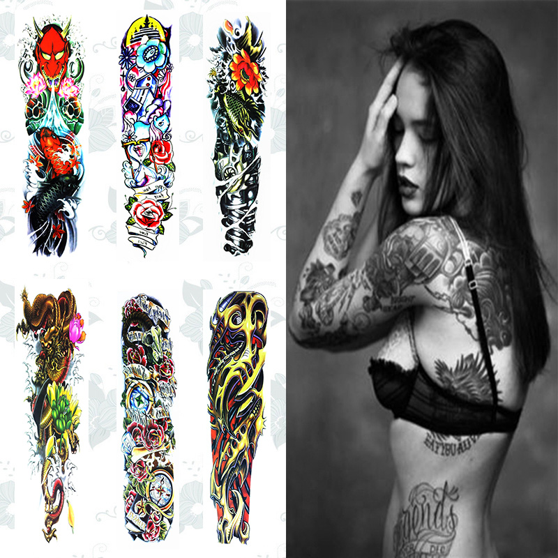 Us 189 Fghgf1pc New 4817cm Full Flower Arm Tattoo Sticker 20models Fish Peacock Lotus Temporary Body Paint Water Transfer Fake Tatoo In Temporary