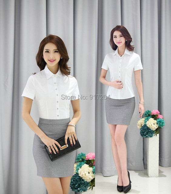New 2015 Summer Formal Women Skirt Suits Skirt and Blouse Sets Ladies Office Uniform Styles Clothing Set Plus Size Free Shipping